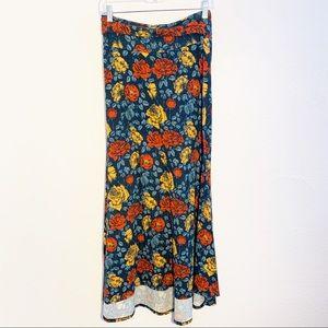 LulaRoe | Rose Print Maxi Skirt